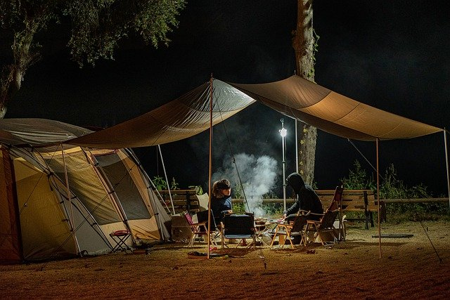 Outdoor camping at night